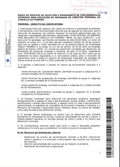 Bases para o proceso de selección e nomeamento de funcionarios/as interinos para a execución do programa de carácter temporal do Concello do Porriño