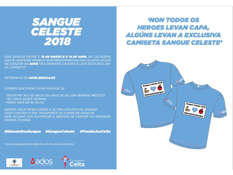Se doas sangue o vindeiro venres, día 23, no Porriño podes levar unha camiseta do Celta