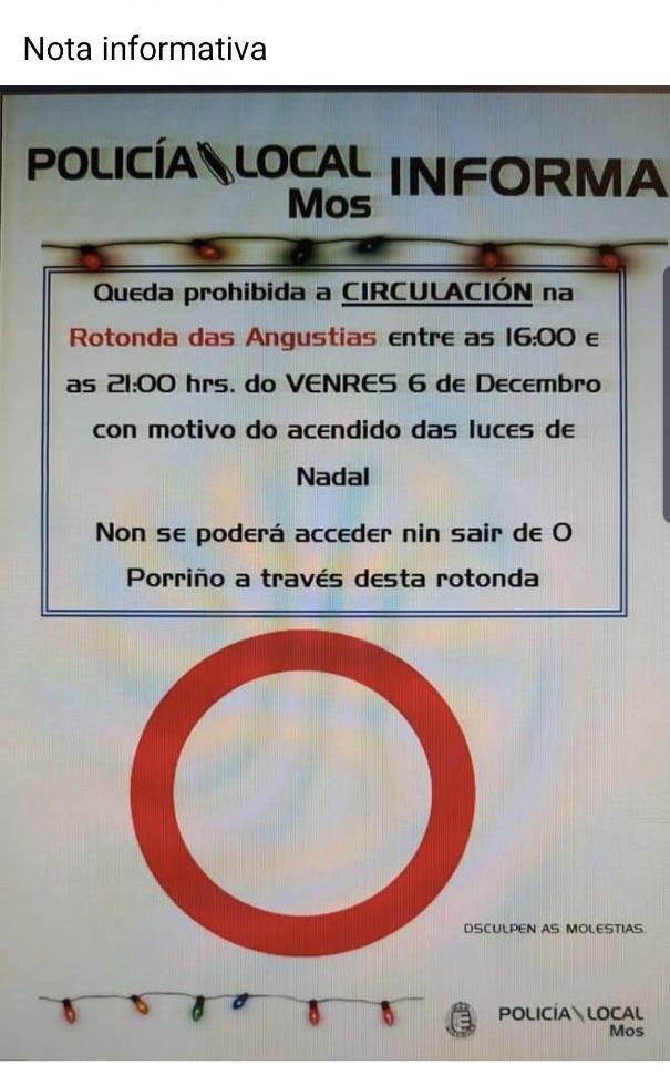 O Concello de Mos cortará hoxe venres a rotonda das Angustias o que vai producir graves afeccións no tráfico do Porriño
