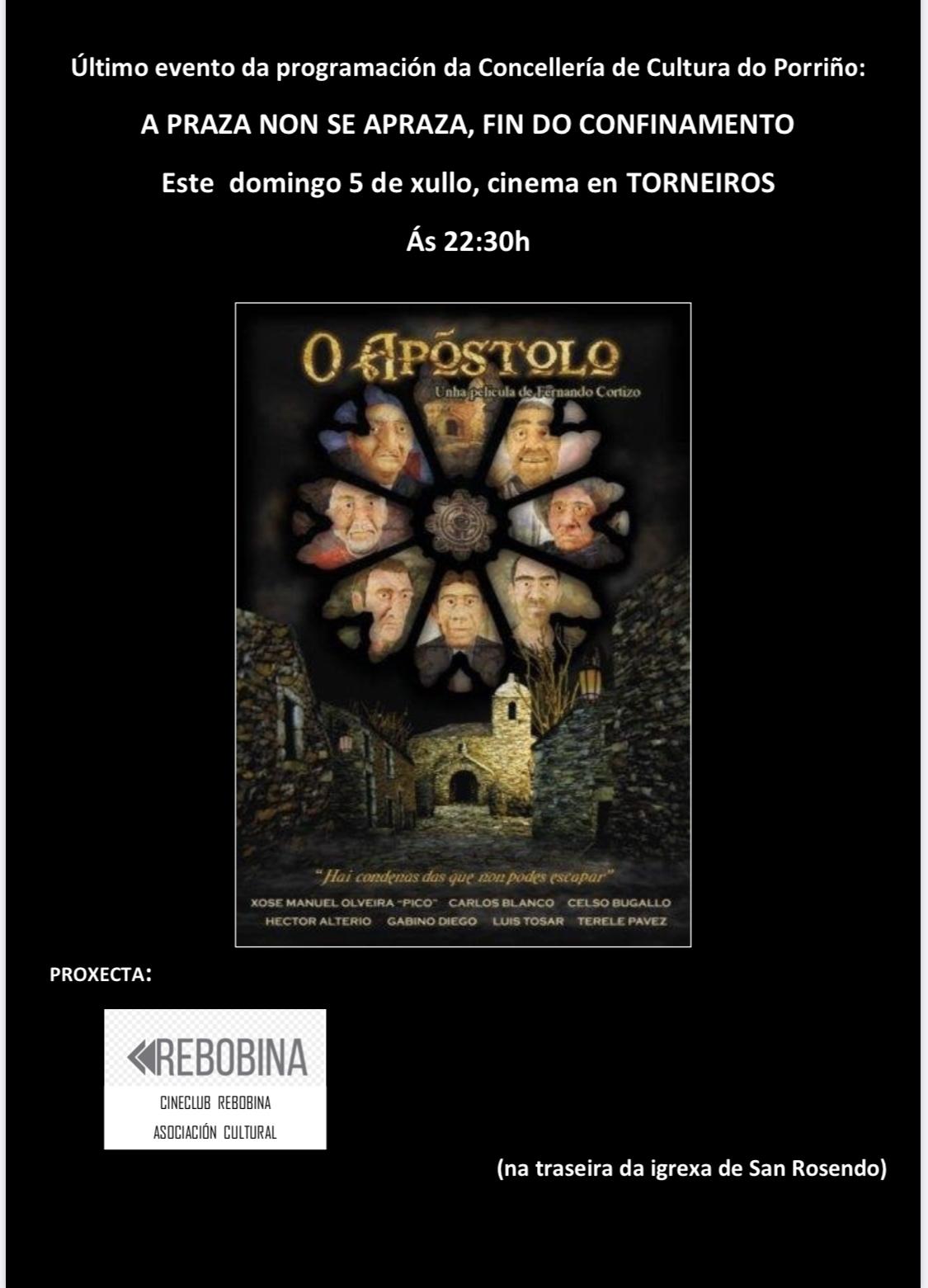 """Unha sesión de cinema na rúa, en Torneiros, pechará a programación """"A praza non se apraza""""."""