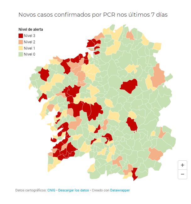 Non hai cambios, O Porriño segue en alerta vermella no mapa do Sergas