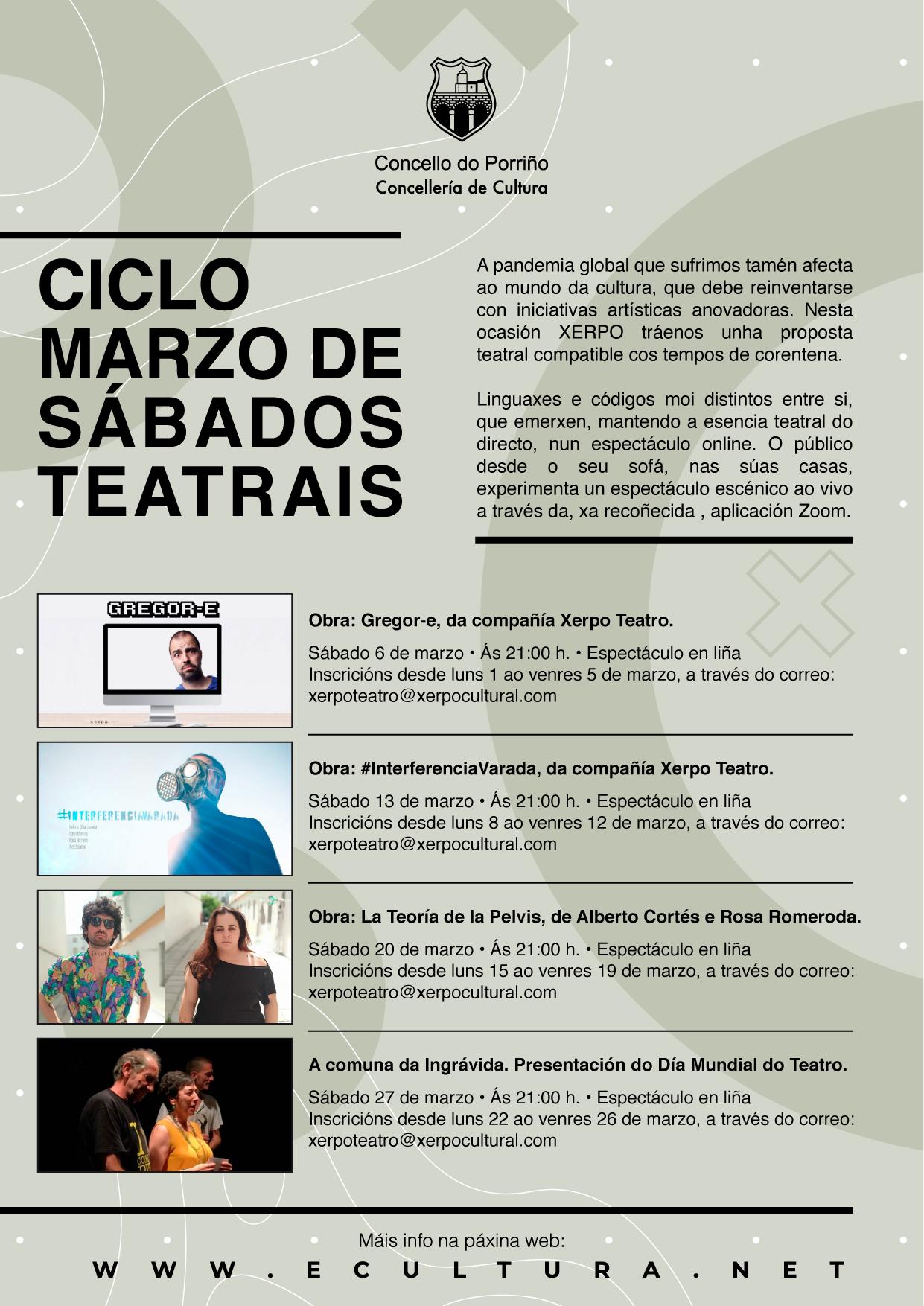 """Concellería de Cultura anuncia o ciclo """"Marzo de sábados teatrais"""""""